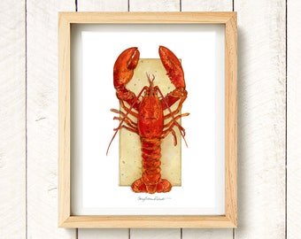 Lobster - watercolor art print 8.5x11""