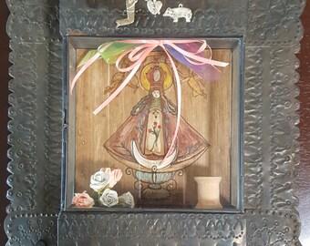 Vintage 1950s Nicho Retablo Virgen de Soledad from Oaxaca, Mexico Folk Art