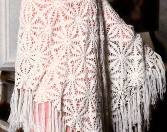 Fringed Shawl Pattern Rosette Motif Cathedral Window Crochet summer wrap pattern summer shawl PDF SH101