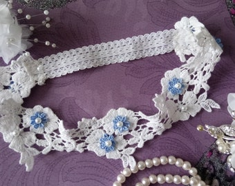 Something Blue..Vintage Wedding Garter,off  white cotton guipure lace with  pearls