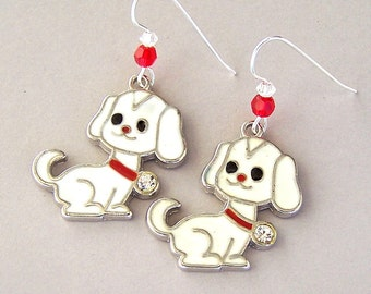 White dog earrings, enameled dog charm earrings, Swarovski crystal elements