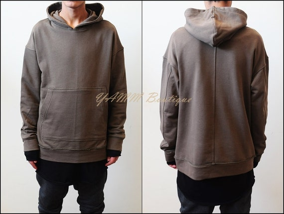Oversized Essentials Men's Raw Edge 80's Sweater Oversized Fit Dropped Shoulder / Cross Neck Badge Kanye Hoodie cFX3I2nF