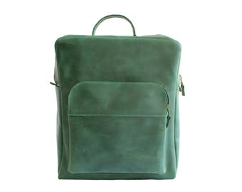 Genuine Leather Bag, Mens Backpack, Green Backpack, School Bag Pack, College Backpack, Handmade Rucksack, Hipster Rucksack, Stylish Backpack