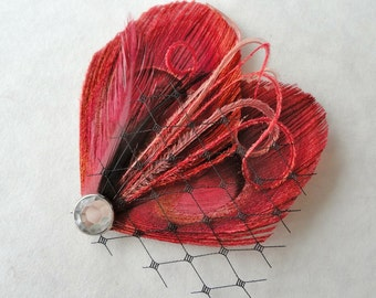 TASHA in Burgundy Red and Black Peacock Feather Hair Clip, Fascinator