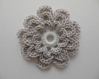 Crocheted Flower - Silver Mist with White - Cotton Flower - Crocheted Flower Embellishment - Crocheted Flower Applique
