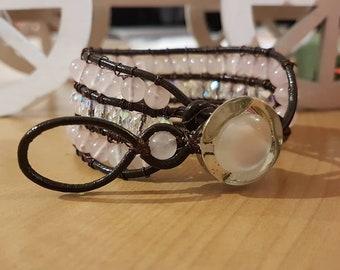 Boho leather and Rose quartz bracelet