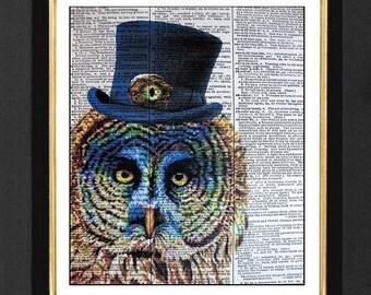 "Owl Print ""Mesmerized with you"", Owl Animal Humor, Owl  Funky Steampunk Print, Steampunk Art Print, Steampunk Owl Humor,Owl Print 8x10.5"