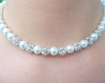Strass und Perlen Hochzeit Halskette, funkelnde Collier Brautschmuck, Braut Accessoires, Hochzeit Schmuck, Braut Halskette, weiß, Elfenbein