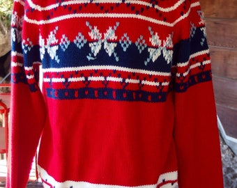 1970s Vintage Crew Neck Ski Sweater Pullover zMIG0jvwW