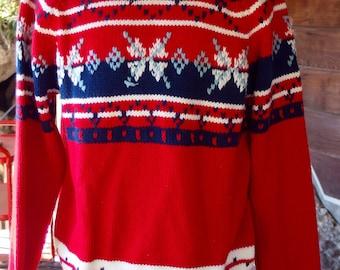 1970s Vintage Crew Neck Ski Sweater Pullover
