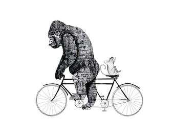 Gorilla Tandem - signed giclee print