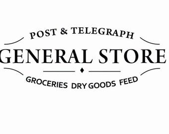 Digital Download Vintage General Store Sign Wood Transfer Iron On Clip Art; 1040