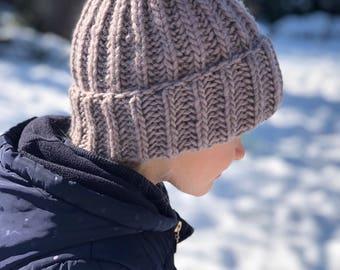 Girls woolly hat . Girls winter beanie . Hand knitted chicken's hat