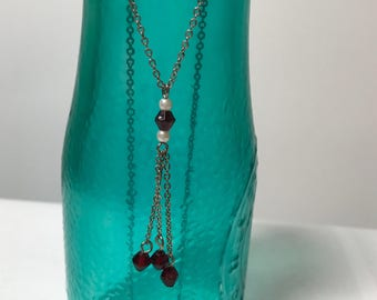 Vintage dainty red beaded drop necklace with silver tone chain