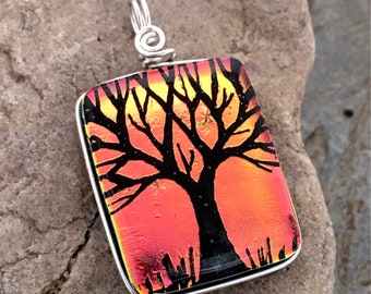 SALE Tree Pendant Dichroic Salmon Hand Etched Glass Art Wire Wrapped