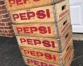 6 Vintage Near Mint Pepsi Cola Wood Soda Pop Crate Lot 24 Dividers