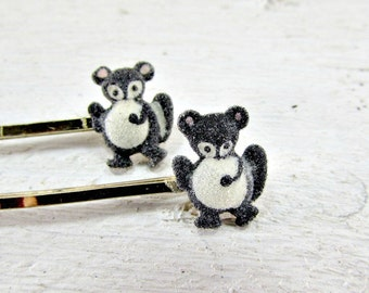 Vintage Squirrel Hair Bobby Pin Set, Woodland Animal Hair Bobby Pins, Decorative Hair Bobby Pin, 1960s Hair Accessory, Gray Squirrel Jewelry