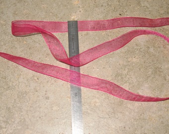 1 meter Ribbon 15 mm wide organza pink backed