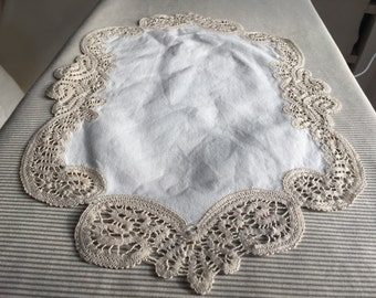 Linen doily lace edge, hand made
