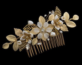 Bridal Comb, Wedding headpiece, Bridal Headpiece, Wedding Comb, Decretive Bridal Hair Comb | MARIELLA Gold