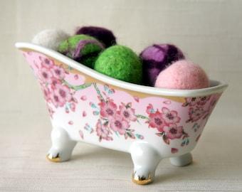 9 Felted Balls in a Bathtub, felt balls in a bowl (INCLUDED), wool felt home decor natural housewares shower favor hostess gift