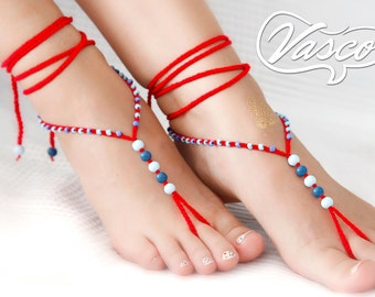 Red Blue Barefoot Sandals