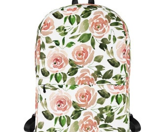 Watercolor Floral Backpack, Backpack, School Bag, Floral Backback