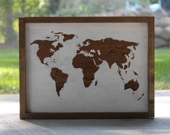 Framed World Map Wooden Sign | World Map | Farmhouse Decor | Wanderlust | Travel | Map sign | Wood World Map