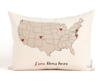 Customized Map Locations Pillow, USA Map Cotton Canvas Pillow, Housewarming, Gift for Her, Throw Pillows, Rustic Decor, Mother's Day