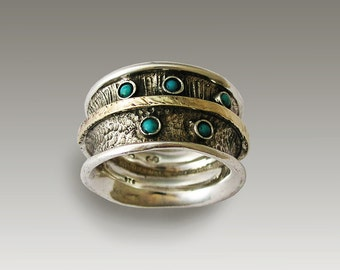 Sterling silver band, silver and gold band, mixed metal ring, turquoise ring, wide ring, gemstone ring, mixed metal band - On our way R1711G