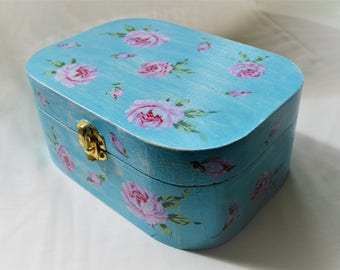 Gorgeous Blue Hand-Painted and Decoupaged Vintage Flowers Wooden Jewellery Box