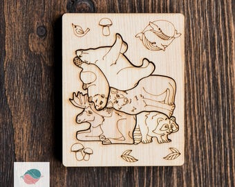 Wooden Puzzle - Forest Friends - Barbarikum - Wooden Waldorf Toy - Christmas Gift