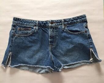 micro mini denim shorts | fringed side slit shorts | 90s indigo shorts