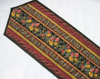 Quilted table runner Fall  flowers Thanksgiving green burgundy black  Quiltsy handmade