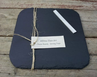 10x10 Rounded Corners Slate Plate with Soapstone Chalk