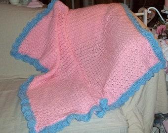 New, Crochet Afghan, 20% OFF SALE, Baby Afghan, Crochet Throw, Pink Afghan,