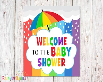 PRINTABLE Welcome Baby Shower Sign, Baby Shower Party Sign, Rainbow Welcome Sign, Rainbow Baby Shower Welcome Sign, INSTANT DOWNLOAD