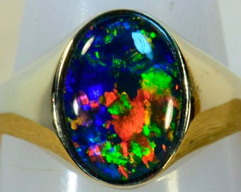 GEM Quality Genuine Australian Opal mans / womans solid 14k Yellow Gold ring (13724)