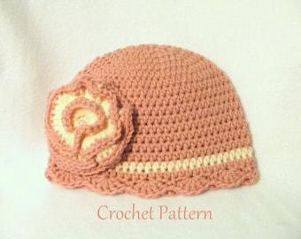Crochet PATTERN Hat PATTERN The Emily Baby Hat Cloche Pattern Crochet Pattern Baby Hat Pattern Crochet Cloche Pattern Baby GIrls Hat Pattern