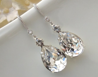 Rhinestone Bridal Earrings Swarovski Crystal Statement Bridal Earrings Teardrop Earrings Wedding Jewelry Wedding Crystal Earrings ARIA