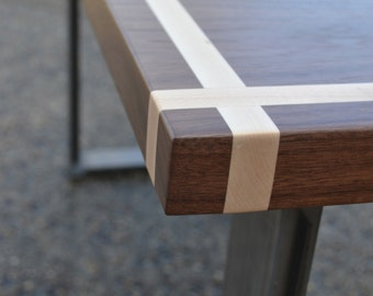 Desk - Solid Black Walnut With Maple Inlay - Solid Steel Legs