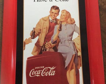 Coca-Cola Tin tray with 1948 vintage Ad that was used as an indoor poster