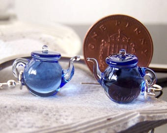 Sapphire blue tea tiny teapots - handmade glass dangling lampwork earrings