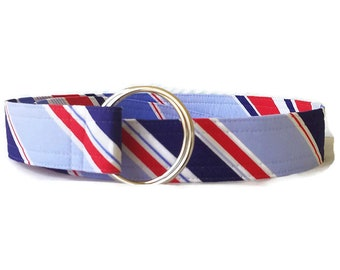 Women's Red White and Blue Diagonal Strip Belt