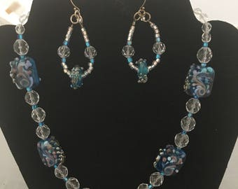 Lampwork Beaded Blue Necklace