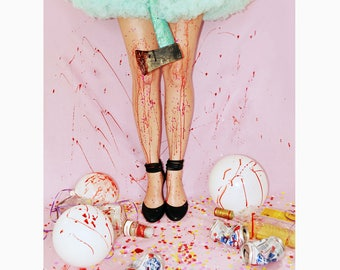 Party's Really Over Now Art Print / Photography / Bloody / Glitter / 8x10 11x14 / Horror Dark