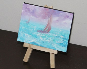"""Original Mini Painting - (3x4"""") Boat, Sailing Ship, Sailboat, Ocean Waves, Oil Painting on Canvas with Easel, Apartment Decor, Small Gift"""