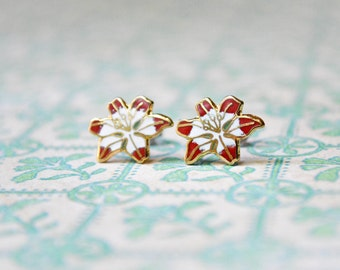 Christmas Enamel Earrings - Red & White Poinsettia - Flower Earrings - Vintage Cabochons - Surgical Steel Earrings - Holiday Jewelry