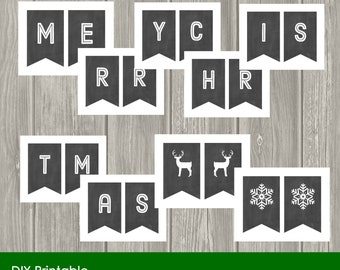 Merry Christmas Banner, Chalkboard Banner, Decoration, Garland, Printable, DIY, INSTANT DOWNLOAD