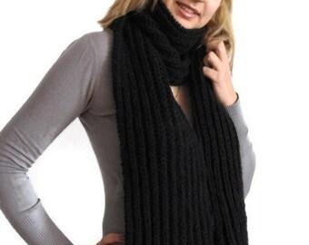 Black Knit Scarf. Black scarf. Knit black scarf. Winter black scarf. Wool scarves